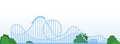 Amusement roller coaster vector flat icon isolated on white