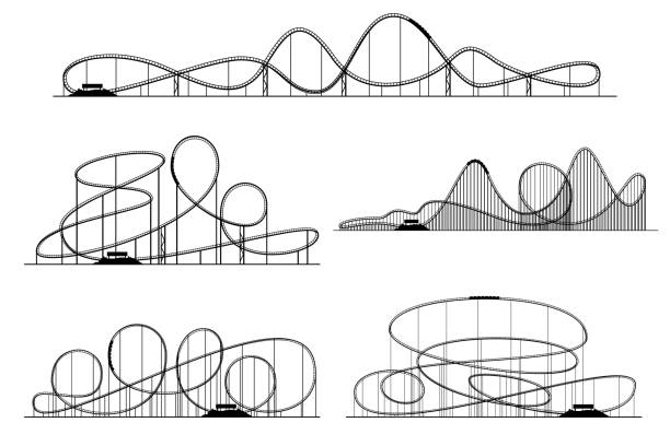 roller coaster vector silhouettes. rollercoaster or amusement park rollers isolated - roller coaster stock illustrations