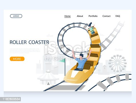 Roller coaster vector website template, web page and landing page design for website and mobile site development. Rollercoaster ride, amusement park attractions.