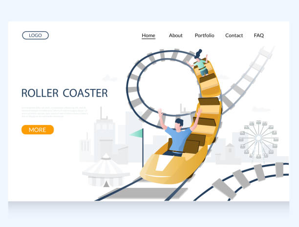 roller coaster vector website landing page design template - roller coaster stock illustrations
