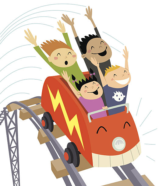 roller coaster2 c - roller coaster stock illustrations