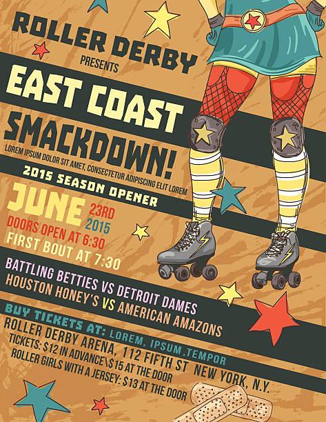roller derby veranstaltung poster-vorlage - rollschuh stock-grafiken, -clipart, -cartoons und -symbole