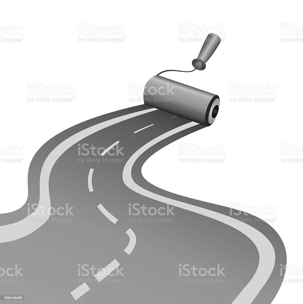 roller draws the asphalt-paved road vector art illustration
