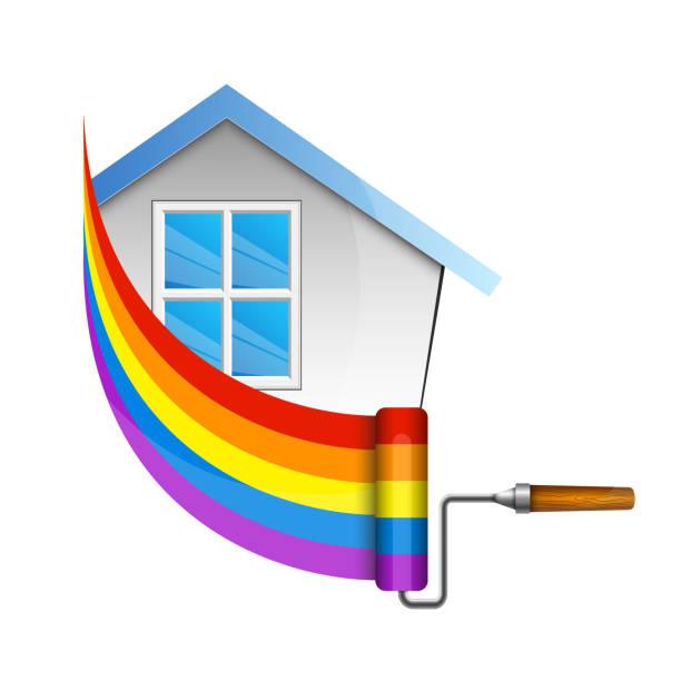 illustrations, cliparts, dessins animés et icônes de rouleau pour peindre la maison - logo peintre en batiment