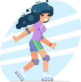 Roller girl cute flat design character vector illustration