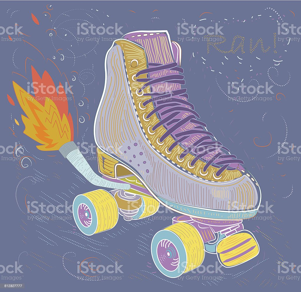 Roller shoes. Shoes with pipe and fire. Illustration. vector art illustration