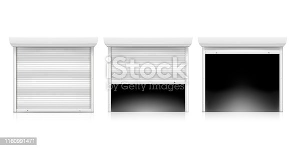 Roller shutter door set, coiling door for security. Metallic industrial frame. Vector flat illustration on white background