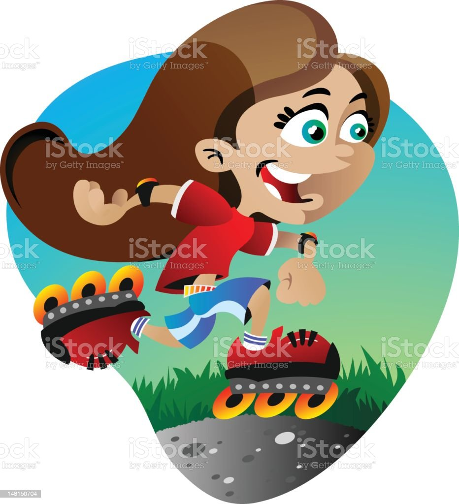 Roller Skate Girl vector art illustration