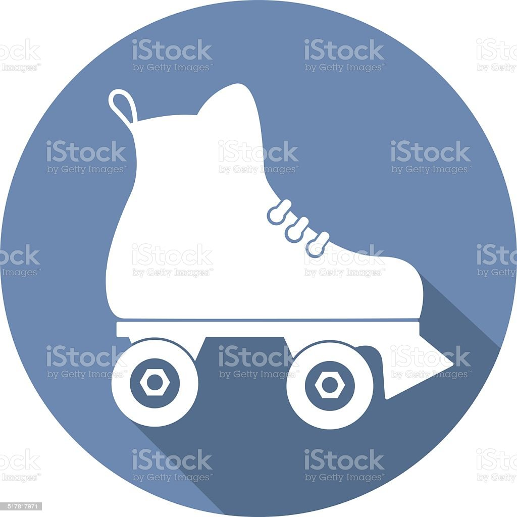 roller skate icon with a long shadow on white vector art illustration