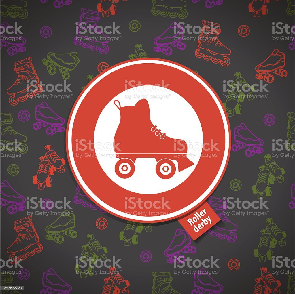 roller skate seamless pattern with roller derby icon vector art illustration