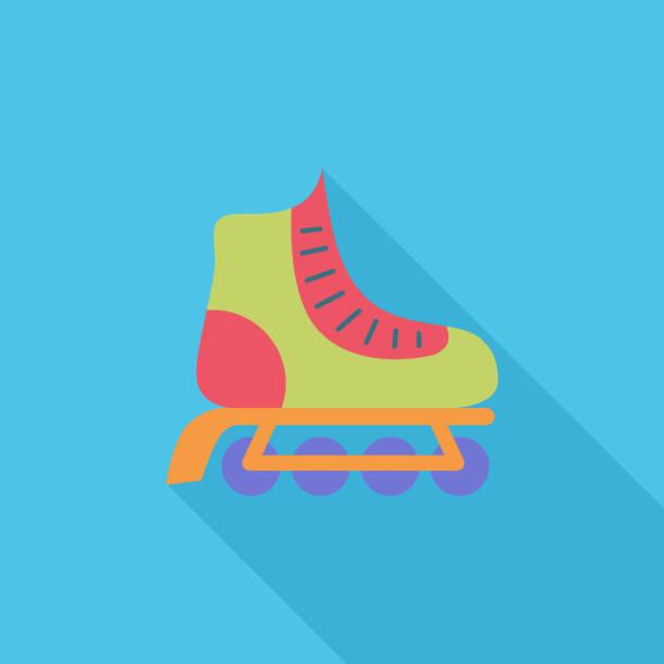 ilustrações, clipart, desenhos animados e ícones de patim de vetor plana ícone - ícones de design planar