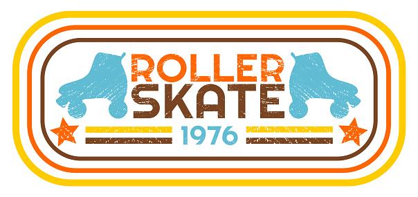 Retro vintage roller skate 1976 banner