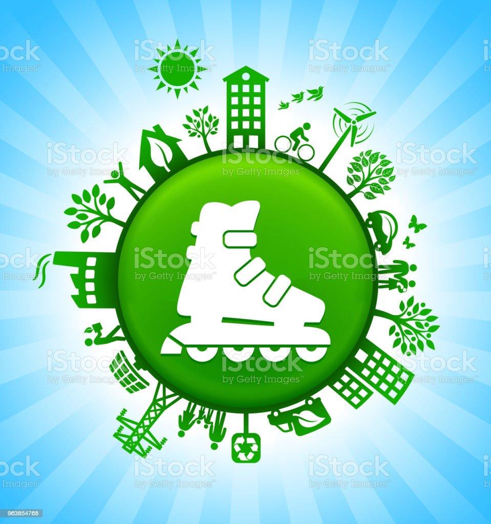 Roller Skates Environment Green Button Background on Blue Sky - Royalty-free Alternative Energy stock vector