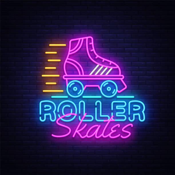 inline skates neon sign vektor. retro-quad rollschuhe neon logo, design-vorlage, modernen trend-design, nacht neon schild, nacht leuchtende werbung, leichte banner, lichtkunst. vektor-illustration - rollschuh stock-grafiken, -clipart, -cartoons und -symbole