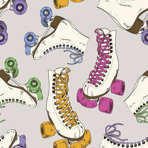 nahtlose muster mit inline skates - rollschuh stock-grafiken, -clipart, -cartoons und -symbole