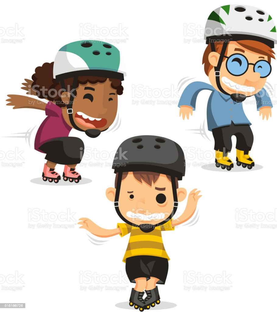 roller skating boys set 2 vector art illustration