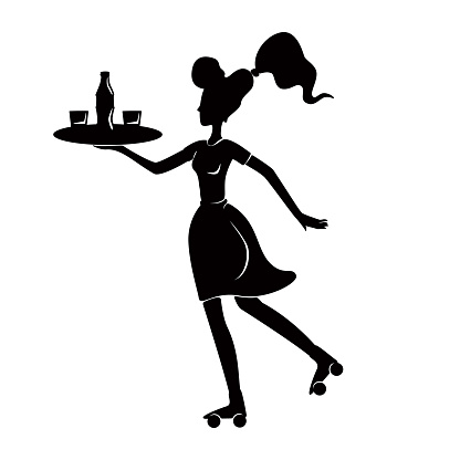Roller waitress holding tray in hands black silhouette vector illustration. Retro female waiter. 1950s style woman on rollerskate. 2d cartoon character shape for commercial, animation, printing