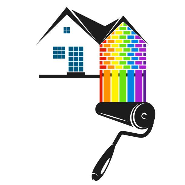 illustrations, cliparts, dessins animés et icônes de rouleau à peinture de couleur pour la peinture à la maison - logo peintre en batiment
