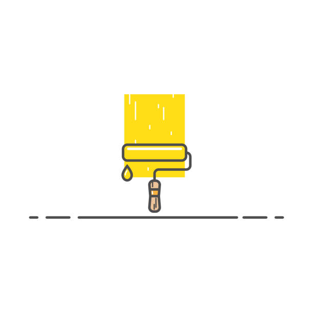 Roller with paint and drop A roller with yellow paint and drop in line style. A trace of smeared paint on the wall and. Tool for construction or repair work. Art craft object. paint roller stock illustrations