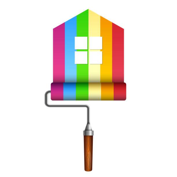 illustrations, cliparts, dessins animés et icônes de rouleau à peinture pour la maison - logo peintre en batiment