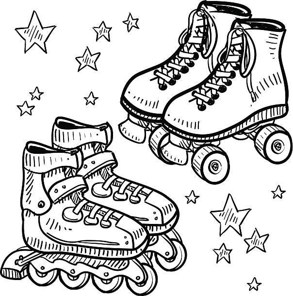 rollerblades und rollerskates skizze - rollschuh stock-grafiken, -clipart, -cartoons und -symbole