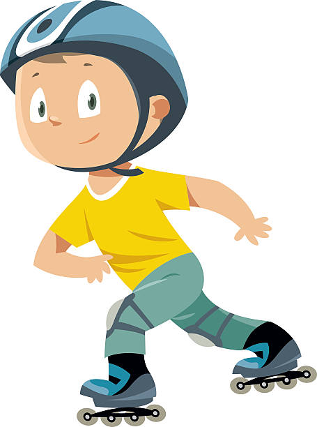 Rollerblades boy vector art illustration
