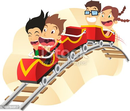 cartoon illustration of group of children at the rollercoaster.