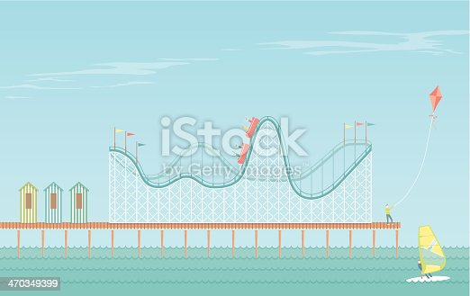 An illustrated scene of boardwalk on a bright day with rollercoaster and people having fun at the seaside. Each element of the scene is on a separate layer and can be easily edited.