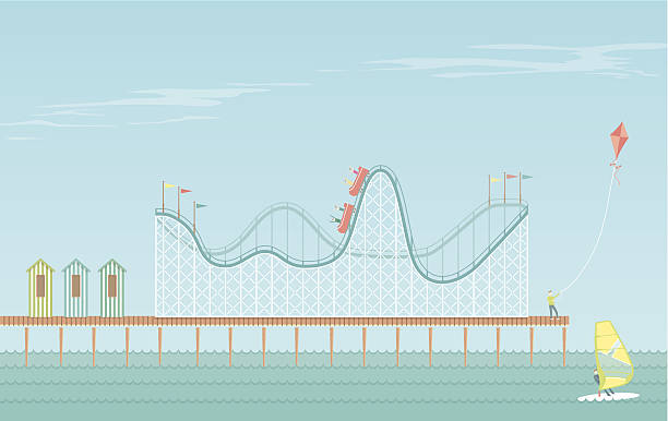 rollercoaster boardwalk - roller coaster stock illustrations