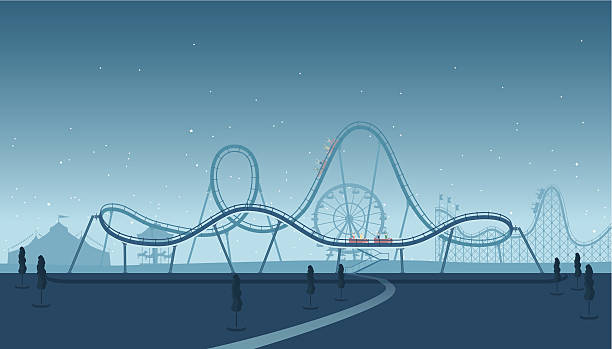 rollercoaster silhouette - roller coaster stock illustrations