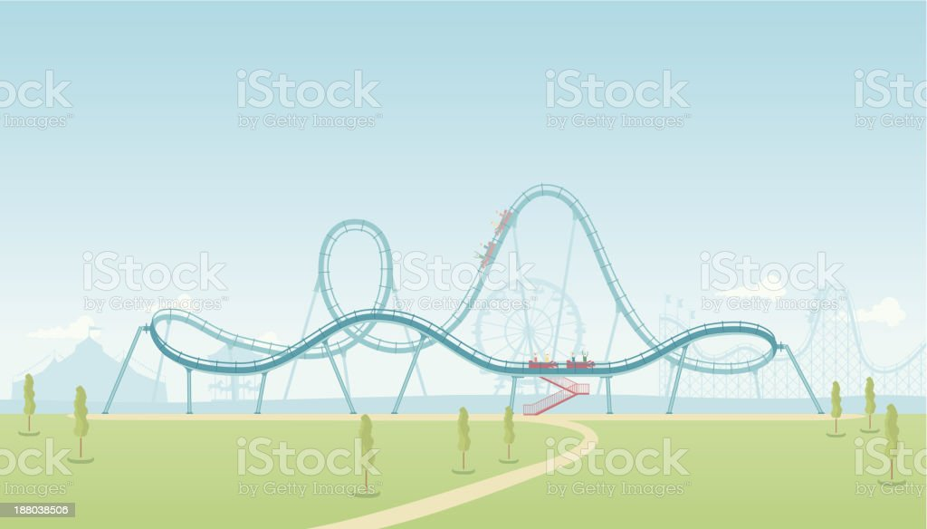 Rollercoaster Theme Park vector art illustration