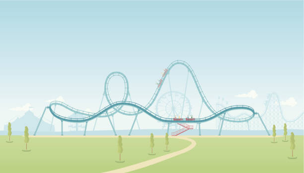 rollercoaster theme park - roller coaster stock illustrations