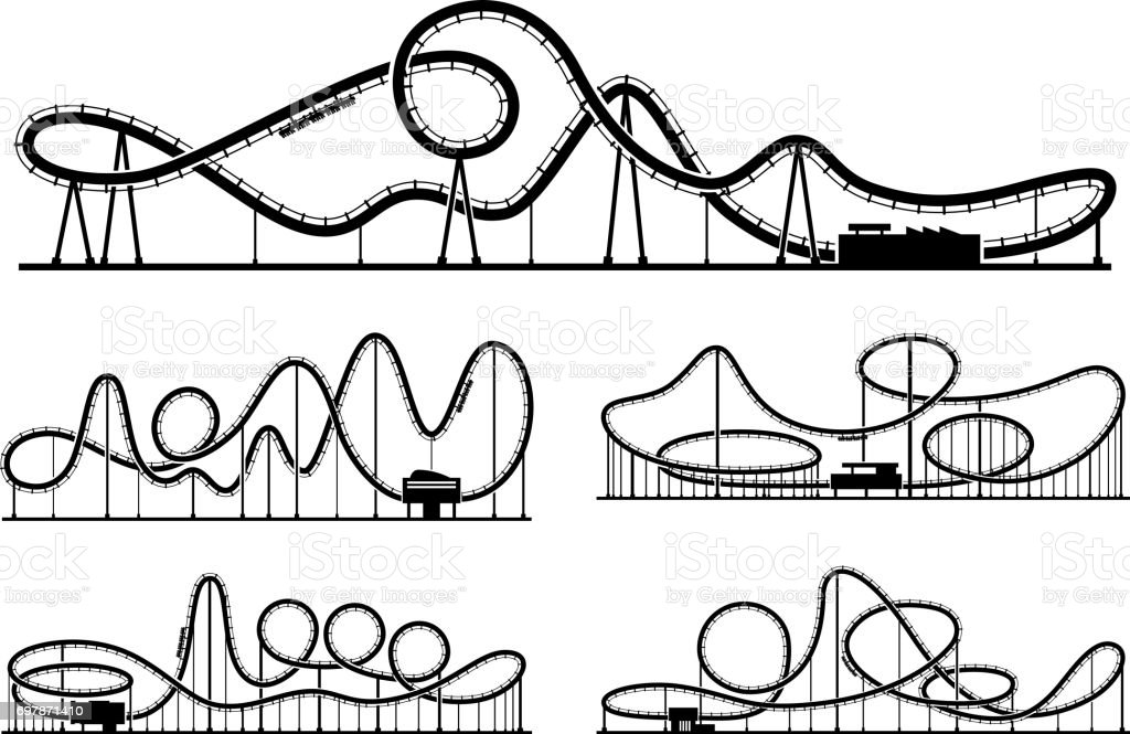 rollercoaster vector silhouettes isolate on white