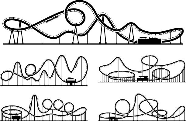 rollercoaster vector silhouettes isolate on white background. amusement park illustration - roller coaster stock illustrations