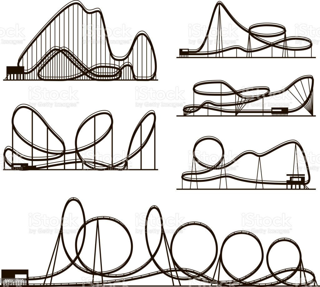 Rollercoaster vector vector black silhouettes isolated on white. Amusement park icons