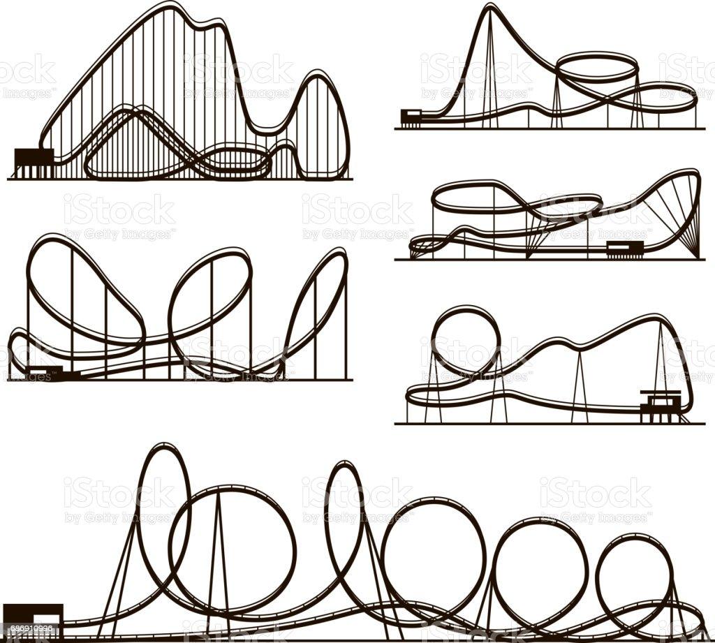 Achterbahn Vector Vektor schwarze Silhouetten isoliert auf weiss. Vergnügungspark-Symbole – Vektorgrafik