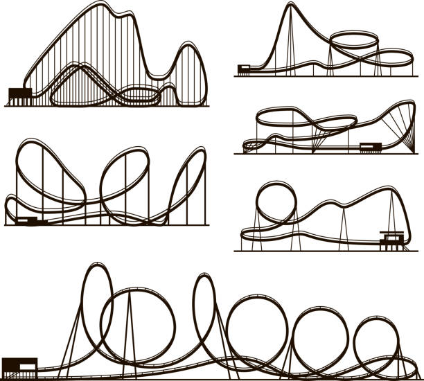 rollercoaster vector vector black silhouettes isolated on white. amusement park icons - roller coaster stock illustrations