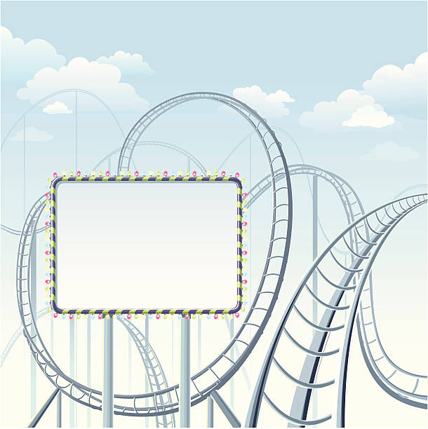 rollercoaster with banner - roller coaster stock illustrations