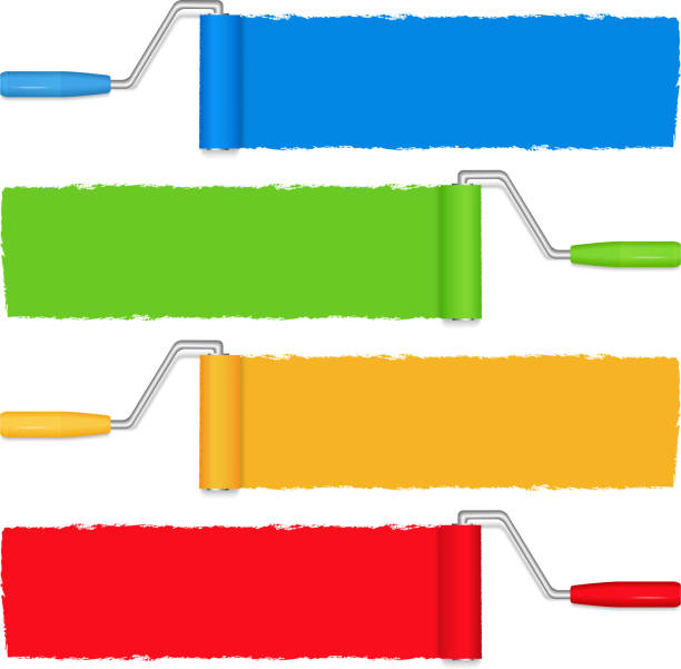 Rollers painting blue, green, yellow and red horizontally  Paint rollers on white background, vetor eps10 illustration (transparent effect used to create shadows) paint roller stock illustrations