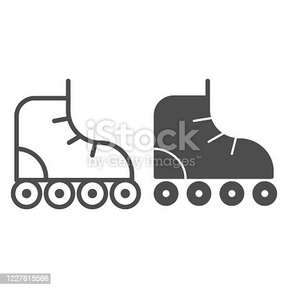 Roller-skates line and solid icon, sport concept, roller skate sign on white background, Retro roller skates icon in outline style for mobile concept and web design. Vector graphics