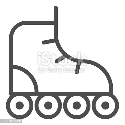 Roller-skates line icon, sport concept, roller skate sign on white background, Retro roller skates icon in outline style for mobile concept and web design. Vector graphics