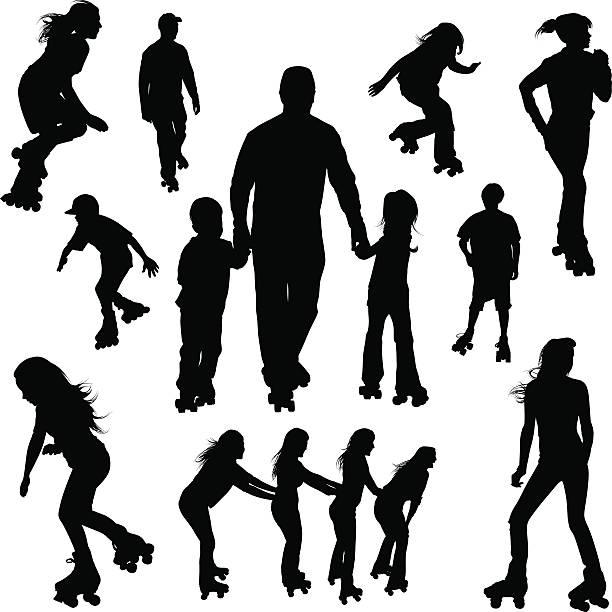 roller-skaten silhouetten - rollschuh stock-grafiken, -clipart, -cartoons und -symbole
