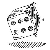 Hand-drawn vector drawing of a Rolling Dice. Black-and-White sketch on a transparent background (.eps-file). Included files are EPS (v10) and Hi-Res JPG.