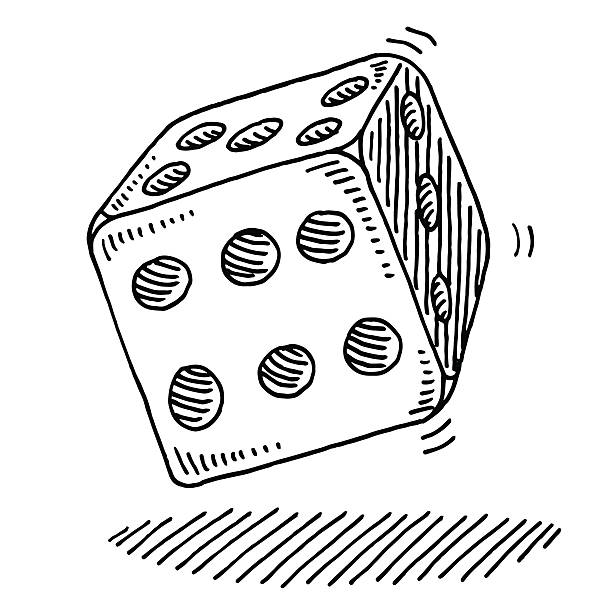 Rolling Dice Drawing Hand-drawn vector drawing of a Rolling Dice. Black-and-White sketch on a transparent background (.eps-file). Included files are EPS (v10) and Hi-Res JPG. game stock illustrations