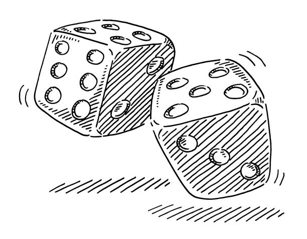 Rolling Dices Game Of Luck Drawing Hand-drawn vector drawing of two Rolling Dices, Game Of Luck. Black-and-White sketch on a transparent background (.eps-file). Included files are EPS (v10) and Hi-Res JPG. game stock illustrations