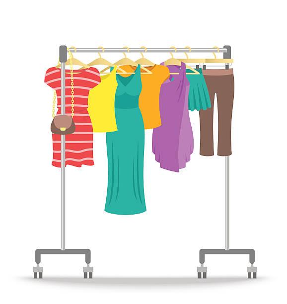 illustrazioni stock, clip art, cartoni animati e icone di tendenza di rolling hanger rack with women clothes collection - capri