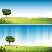 Two nature themed designs with rolling hills and a single tree.