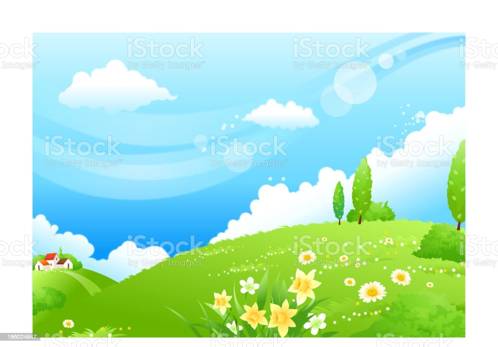 Rolling landscape and blue sky royalty-free stock vector art