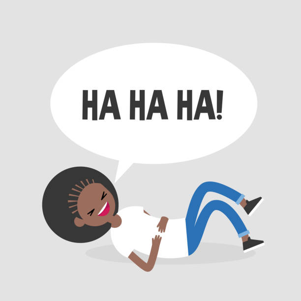 Rolling on the floor laughing. Conceptual illustration. Young black female character having fun. Humor. Flat editable vector illustration, clip art vector art illustration