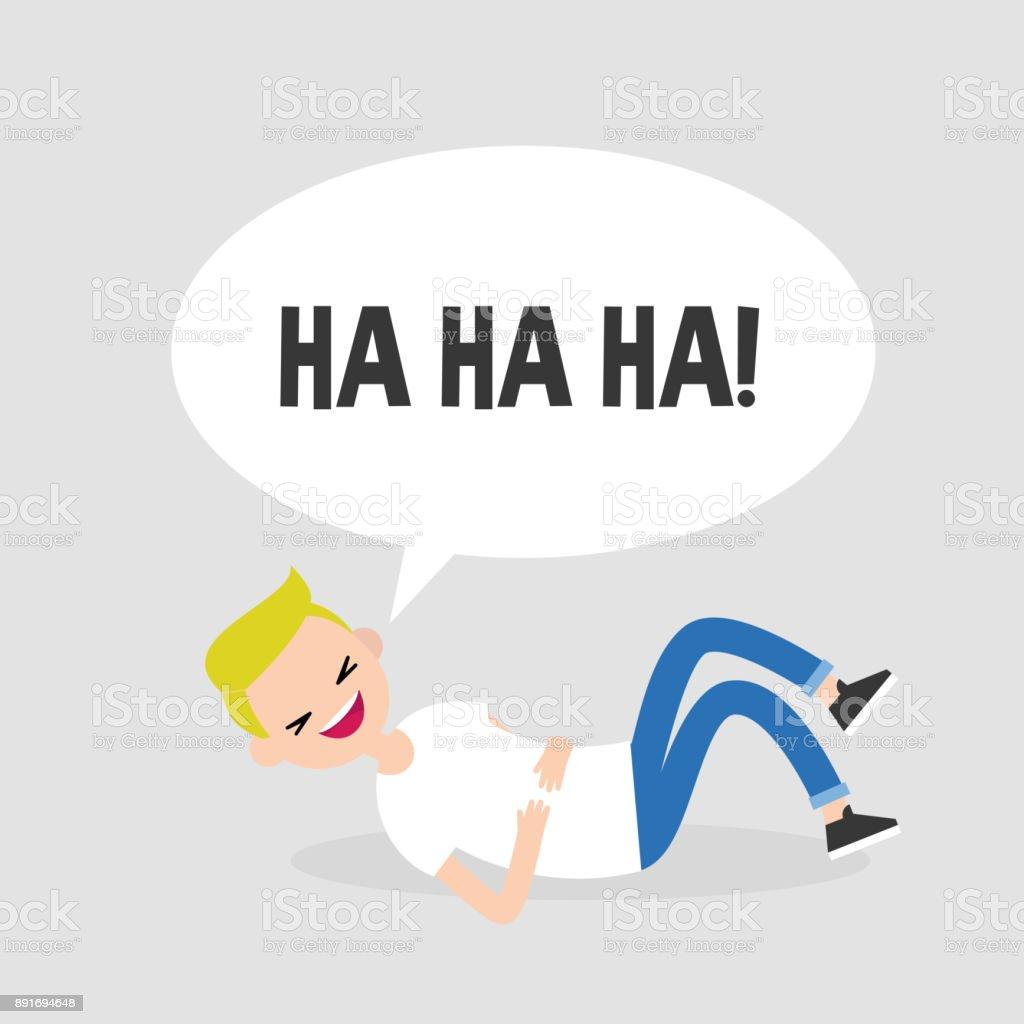 Rollen auf dem Boden vor Lachen. Konzeptionelle Darstellung. Junge Charakter Spaß. Humor. Flach bearbeitbares Vektor-Illustration, ClipArt – Vektorgrafik